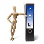 Finanzbuchhaltung (FiBu) - Zeichenpuppen am FiBu-Ordner lehnend
